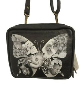 Anuschka Hand Painted Leather Crossbody Organizer-Butterfly Mosaic-NWOT-$199.00