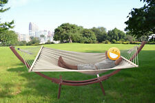 New Wooden Curved Arc Hammock Stand w/Hammock for Outdoor Beach Patio Yard Swing