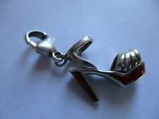 925 Silver & Enamel Clip On Charm~ Ladies High Heel Shoe