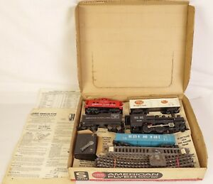 AMERICAN FLYER SET #20763 W/#21166 STEAM LOCOMOTIVE & FREIGHTS-VG+ WITH OB!