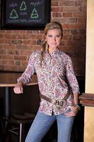 WRANGLER Rock 47 Western Pearl Snap Front Long Sleeve Paisley Shirt LJ1241M NWT