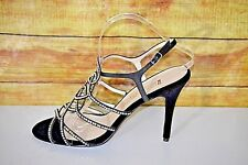 New E! Live From The Red Carpet Womens Black Satin EOO16 Heels Shoes   Sz 10M