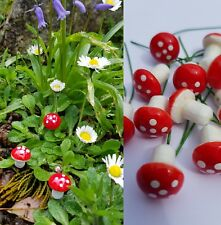10 TOADSTOOLS-MUSHROOMS-RED/SMALL-FAIRY GARDEN ORNAMENT/DECORATIONS/CRAFT-MINI