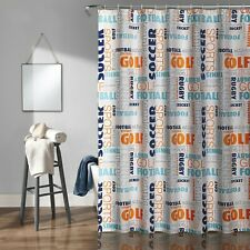 "Lush Decor Sport Themed Sporting Shower Curtain 72"" X 72"" Basketball Football"