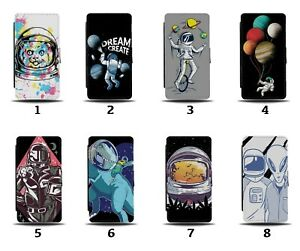 Astronaught Flip Wallet Case Astronaught's Space Cartoon Kids Boys Planets 8176