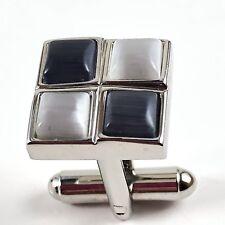 Vintage Cufflinks Geometric Square Silver Iridescent Gray Stones