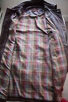 MULBERRY Mens Brown Vintage Long Leather Jacket Coat Medium 46 M Plaid lining !!
