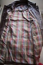 MULBERRY Mens Brown Vintage Long Leather Jacket Coat Medium 46 M Plaid lining !