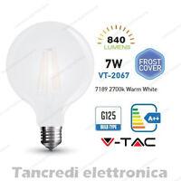 Lampadina led V-TAC 7W E27 bianco caldo 2700K VT-2067 G125 bianca filamento bulb