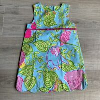 Lilly Pulitzer Girls Sz 4T Shift Dress Pink Blue Green Scalloped Edge Elephant
