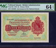 Falkland Islands, 5 Pounds 1975, P-9b, PMG UNC 64 EPQ * Queen Elizabeth *