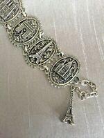 Vintage French Chic Paris Souvenir Eiffel Tower Charm Link Bracelet Silver Tone