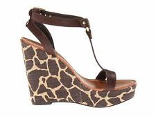 Ralph lauren Disha Dark Brown Leather Women's Open Toe Platform Wedge Heels 7.5