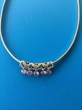 Magnetic Clasp Solid Silver 925 Necklace/Choker + Pink CZ Heart Details Pendant