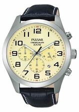 Pulsar Gents Black Leather Strap Aged Look Cream Dial Chronograph Sports Watch
