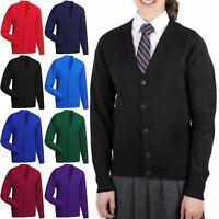 KIDS SCHOOL UNIFORM CARDIGAN HAND POCKET BUTTON UP FRONT BOYS GIRLS JUMPER 2-14