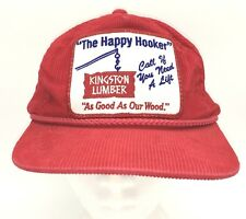 Vtg Kingston Lumber Hat Red Corduroy Happy Hooker Call If Need A Lift Good Wood