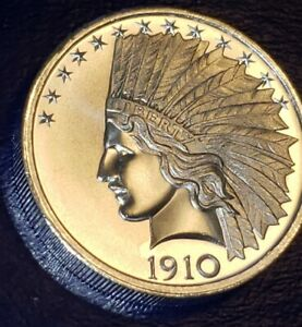 1910 - 2 Troy Ounce Silver INDIAN HEAD - EAGLE Coin/Round - 62.2g - .9999 FINE