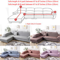 L Shape Sectional Sofa Cover, 2pcs 3-Seater Polyester Fabric Stretch Slipcovers