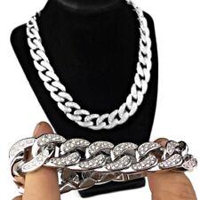 "Mens Bracelet & 18"" Choker Chain Iced Silver Tone Thick 18MM Heavy Cuban Set"