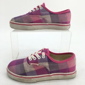 VANS Kids 11 Era Plaid Casual Lace Up Sneakers Pink Low Top Comfort Shoes