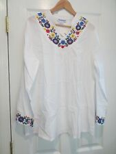 Women's Large white cotton ebroidered Top  NEW! The Paragon