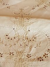 Vintage White/Cream Madeira Embroidered Tablecloth, Approx 128cm x 128cm