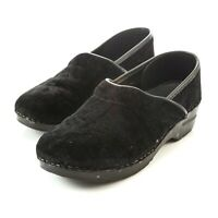 Dansko Black Suede Leather Clogs Slip On Shoes Professional Womens 40 US 9.5 10