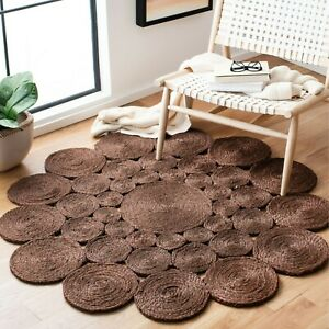 Indian Natural Jute Round Rug Braided style vintage Handmade décor Jute Rugs