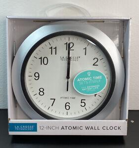 "WT-3129S La Crosse Technology 12"" Atomic Analog Wall Clock - Silver NIB"