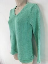 LL Bean Womens XS Pet Aqua Green Heather Cotton V Neck Sweater