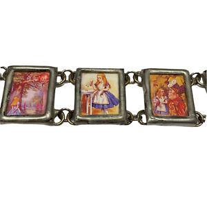 Lisa Salazar Bracelet Alice In Wonderland Altered Art Link Frames Pewter Signed