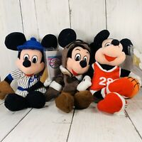 Disney Store Pilot  Baseball Basketball Mickey Mouse 8 In Plush Sports Lot Of 3