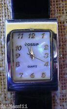 Reloj de mujer marca Gossip Quartz, correa de piel color negro
