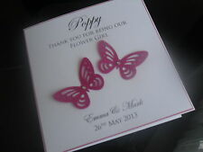 Handmade Personalised Butterfly Thank You Flower Girl/Page Boy Card (Wedding)