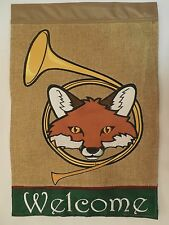 """Welcome"" Fox inside Hunting Bugle Horn on Burlap applique HOUSE flag 2-sided"