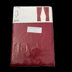 """Ikea Ritva Red Pair of Curtain Panels 57"""" x 86"""" New"""