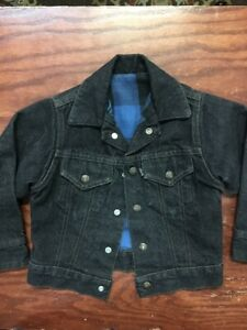 Vtg 1980s Kids Little Levis Black Jean Jacket Boys 5 Lined Snap Denim 2 Pocket