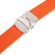22mm Bonetto Cinturini 300L Orange Smooth Rubber Deployant Watch Band Strap