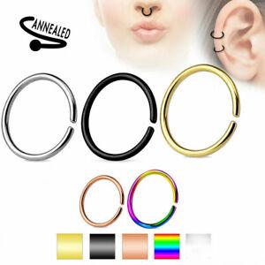 Nose Hoop Ring Rings Non Piercing Ear Helix Cartilage Lip Septum Titanium 20G