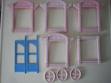 FISHER PRICE LOVING FAMILY DOLLHOUSE REPLACEMENT PINK WINDOW BLUE DOOR PIECES