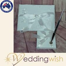 Wedding White Guest Book and Pen Set with embroidered flowers