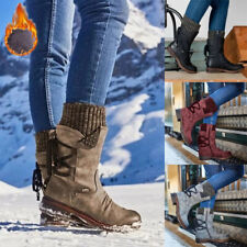 Women's Winter Warm Lace Up Fur Lined Hiking Outdoor Mid Calf Shoes Snow Boots