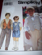 SIMPLICITY #8831 - BOYS PULL ON PANTS or SHORTS & BUTTON DOWN VEST PATTERN 2-4FF