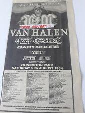 MONSTERS OF ROCK 1984 - original advert / magnet ACDC van halen OZZY motley crue