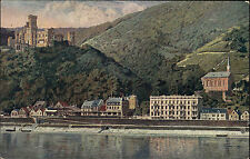 Burg Stolzenfels bei Koblenz Ansichtskarte ~1910 Künstlerkarte Burg und Kapellen