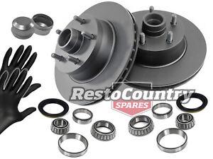 Ford Front Disc Brake Rotor + Wheel Bearing + Hub Cap Kit XW XY ZC ZD NEW