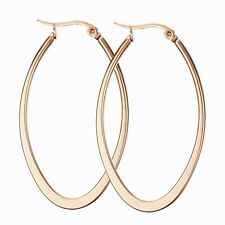 Womens Unique Black/Silver/Rose Gold/Gold Stainless Steel Big Oval Hoop Earrings