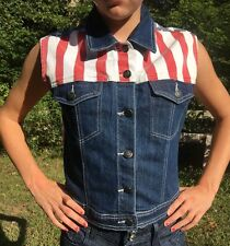 Nice!!! Blue Faith American Flag Patriotic  Blue Jean Denim Vest Junior Large
