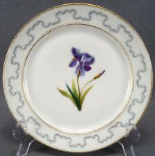 Mid 19th Century Old Paris Hand Painted Purple Irish Flower & Gilt 8 Inch Plate
